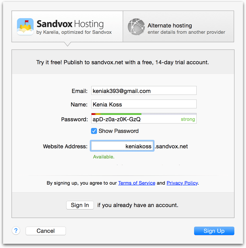 Sandvox screenshot of Setup Host, filling in email, name, a password, and a website address